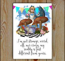 Alice In Wonderland, Rality, Metal Tin Plaque | Alice's Adventures In wonderland