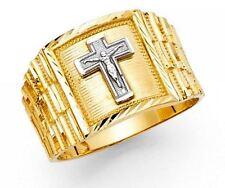 Men's 14k 2 Tone Solid Gold Big Bold Jesus Crucifix Cross Religious Ring