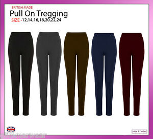 Pull On Ponte Skinny Slim Trousers Work Casual Formal Treggings Plus Size 12-24