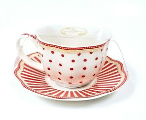 NEW 2 PC SET GRACE'S PORCELAIN WHITE,RED POLKA DOTS,STRIPED GOLD TEA CUP,SAUCER