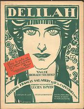 PARTITION DELILAH ILLUSTRATEUR ROGER DE VALERIO ART NOUVEAU ART DECO VERS 1920
