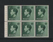 1936 ½d Green Keviii U/Mint Booklet Pane Of Six. Sg 457b