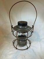 VINTAGE ANTIQUE Hanland RAILROAD LAMP Etched B&O Glass D753