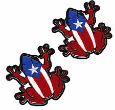 2 PUERTO RICAN BIKER MINI COQUI FLAG embroidered PATCH