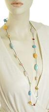 LAUREN Ralph Lauren 'Half Moon' Turquoise Color Bead Leather Long Necklace $78
