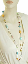 Ralph Lauren HALF MOON Turquoise Color Bead Leather Long Necklace $78