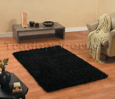 Spider Shaggy Flair Rugs Thick Super Soft Hard Wearing Deep Pile Oblong Rug Black 150 X 210 Cm