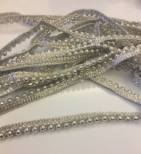 1.5CM UNIQUE EMBROIDERED BORDER SILVERPEARL TAILORING DIY AND JEWELERY PER METER