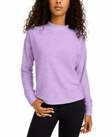 Hippie Rose Juniors' Cozy Mock-Neck Ribbed Top White Grey Size: XS