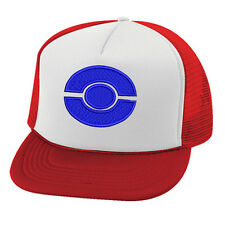 Pokemon Ash Ketchum Blue Ball logo trucker cap hat logo stitched!