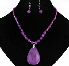 Genuine Semi-Precious Beads Pendant Purple Lavender Pink Amethyst Necklace Set