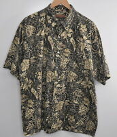 Tori Richard Hawaiian Shirt Size XL Men's Camp Cotton Lawn Aloha Black