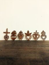 Rusted Steel Set Of 6 Day Of Dead Muertos Mexican Hearts Ornament Hanging Metal