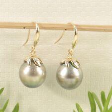 14k Yellow Gold Genuine Diamonds & Tahitian Pearl Dangle Hook Earrings TPJ