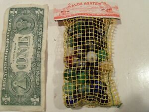 VINTAGE 1940'S-1950'S ALOX AGATE MARBLES IN ORIGINAL MESH BAG,NEW OLD STOCK