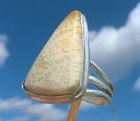 Versteinerte Koralle  aus Indonesien - Ring Grösse 20 Silber 925