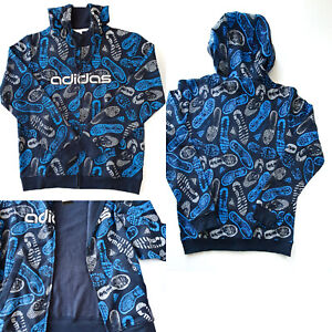ADIDAS Hoodie Track Jacket Allover Print Zip Up Multicoloured Large NWT