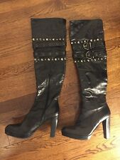 Stuart Weitzman Over The Knee Boots Black Leather Studded Sz 10M