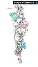 ladies teen shopping pink blue shoes purse hat charm watch bracelet silver