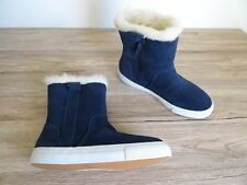 ZARA NAVY BLUE SUEDE LEATHER FAUX FUR LINED ANKLE BOOTS SIZE UK 4 EU 37 USA 6,5