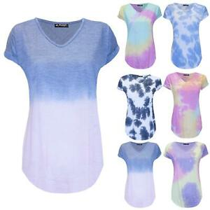 Womens Ladies Tie Dye Printed V Neck Curved Hem Oversized Turn Up Sleeve T-Shirt