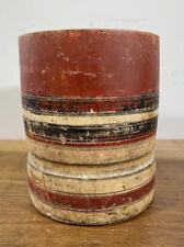 More details for vintage wood turned & painted mortar pot, brush pot, treen