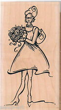 Whipper Snapper Designs Woman With Flowers Rubber stamp wooden wood block