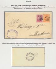 1887 BOLIVIA COVER TO MANCHESTER, LE PAZ VIA LIMA TRANSIT 11c RATE PANAMA