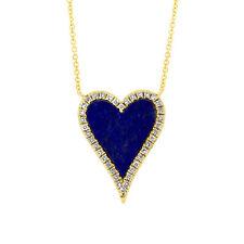 0.93tcw 14K Rose Gold Natural Lapis Lazuli and Diamond Heart Pendant Necklace