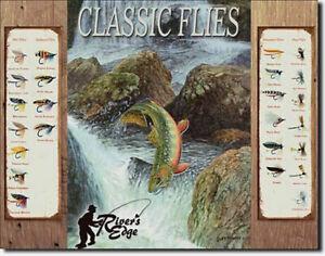 Fliegenfischen Schild Poster Deko Angelsport Sportfischen Flugangeln Köder *748