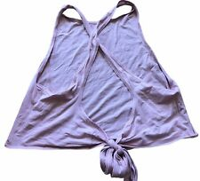 LULULEMON Crop Tie Back Tank Top size 8 Pink Vitasea EUC Run Gym Everyday Fun