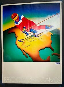 ORIGINAL 1980 LEVI'S SPONSORED WINTER OLYMPICS POSTER DOWNHILL SKIER