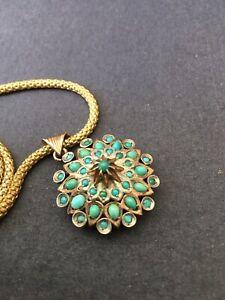 Antique Collier Pendentif Argent Massif Vermeil Turquoise Old Necklace