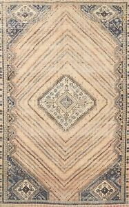 Antique Muted Geometric Abadeh Hand-knotted Area Rug Evenly Low Pile Wool 6'x10'