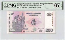 Congo Democratic Republic 2007 P-99 PMG Superb Gem UNC 67 EPQ 200 Francs