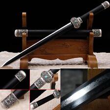 Chinese Short Sword Dagger Pattern Steel Alloy Fitting Wood Sheath Sharp Blade