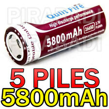5 PILES ACCUS RECHARGEABLE BATTERIE 26650 5800mAh 3.7V Li-ion BATTERY