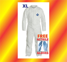 XL Tyvek Protective Coveralls Suit Hazmat Clean-Up Chemical FREE GLOVES Ex-Large
