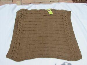 Handmade crochet afghan Taupe Lap Throw Coverlet 52107 Small Crib Baby