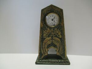 ANTIQUE MANTLE CLOCK ARTS AND CRAFTS DECO NOUVEAU WOOD CARVING SCULPTURE RARE