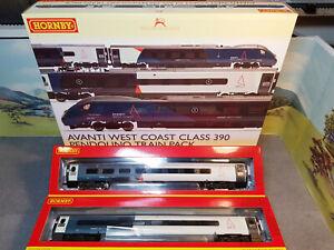 Hornby R3952 Avanti West Coast Class 390 Pendolino Train Pack & Extra 2 Coaches