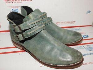 FREE PEOPLE BRAEBURN Women's Ankle Boot Dark Green Distressed Leather Sz 37/6.5