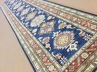 """2'.9"""" X 12'.9"""" Blue Rust Super Kazak Persian Oriental Wool Rug Runner Handmade"""