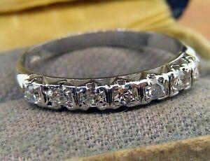 Vintage palladium ART DECO ANTIQUE DIAMOND WEDDING BAND ENGAGEMENT ring