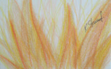 "Original Art - Abstract Color Pencil - ""Ego's Fury"" Fire"