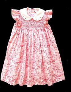 Girls Sophie Dess Smocked Pink Flowers Portrait Church Dress 24 mos
