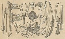 A4045 Oggetti militari egiziani - Incisione - Stampa Antica del 1888
