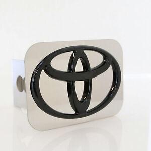 Toyota Logo Tow Trailer Hitch Cover Plug (Black on Chrome)