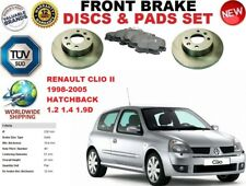 FOR RENAULT CLIO II HATCHBACK 98-05 FRONT SOLID BRAKE DISCS SET + BRAKE PADS KIT