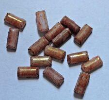 15 x VINTAGE oblunghi Chiazzato in Vetro Marrone UNFOILED Flatback Cabochon - 7 x 3mm